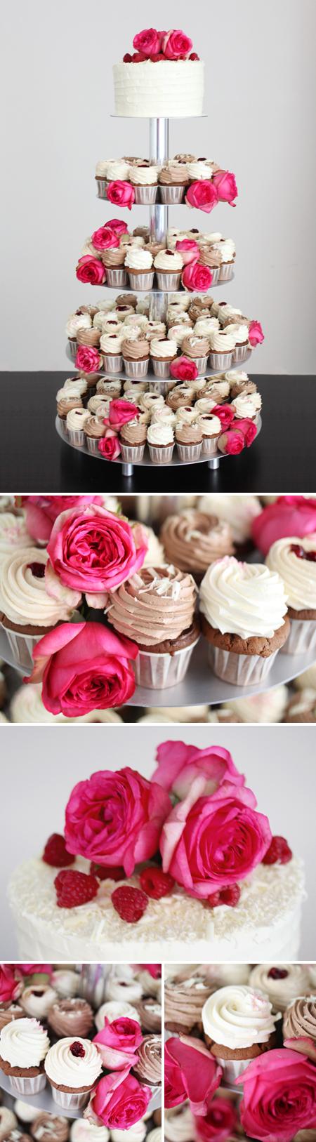 Cupcake Hochzeitstorte mit Rosen